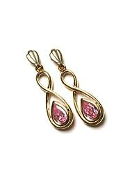 Or 9 carats-Oxyde de Zirconium Rose-Boucles d'oreilles en forme de goutte d'eau