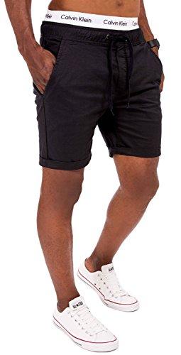 SOLID Herren 4-Pocket Chino Shorts mit Kordelzug Kurze Hose Washed Bermuda Sommerhose Schwarz XL (4-pocket-hose)
