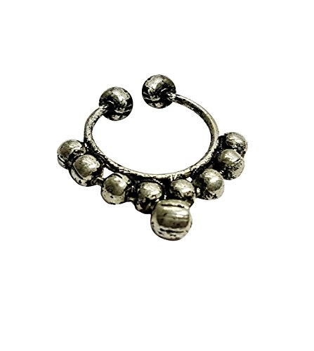 chandrika pearls gems & jewellers Silver Plated Press On Nose Ring - No Piercing (gold)  available at amazon for Rs.120