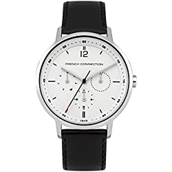 French Connection Men's Quartz Watch with White Dial Analogue Display and Black Leather Strap FC1276B