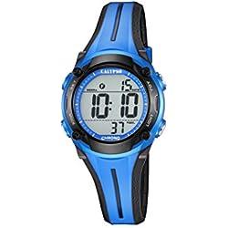 Calypso Unisex Armbanduhr Digitaluhr mit LCD Zifferblatt Digital Display und Blau Kunststoff Gurt k5682/4