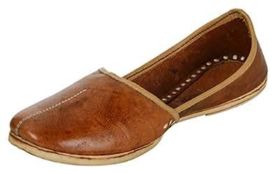 Krafto Men's Natural Leather Round Punjabi Juttis - 10 UK