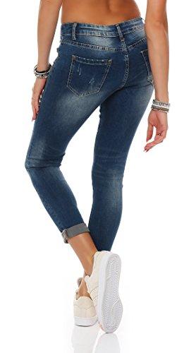 SKUTARI Damen-Jeanshose Boyfriend Trendige Hose mit Löchern oder Nieten Blau 1