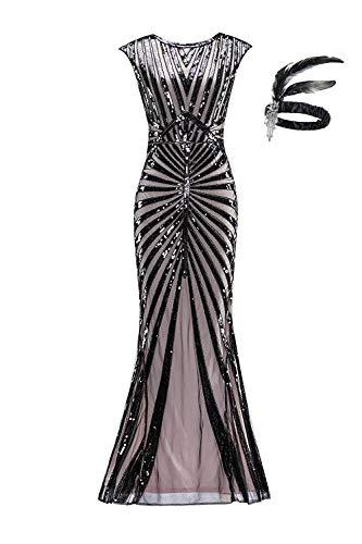 Générique Robe de Femme Années 1920 pour Femmes Robe pour Les Femmes Gatsby Longue Robe de soirée GA25 (S, Black Pink)