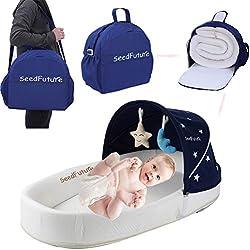 Bebé Capazos Cuna de Viaje de Recién Nacido Cama Nido Portátil Moisés Reductor Cojín con Colchon Lactancia (azul)