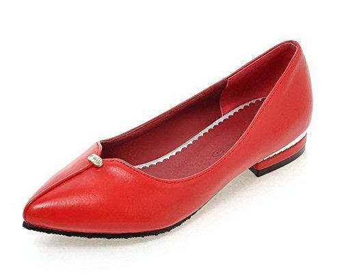 AllhqFashion Femme Tire à Talon Bas Pu Cuir Mosaïque Pointu Chaussures Légeres Rouge