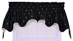 Ellis Curtain Fleur Di Lis Faux Silk Lined 2-Piece Duchess Valance Window Curtain, Black