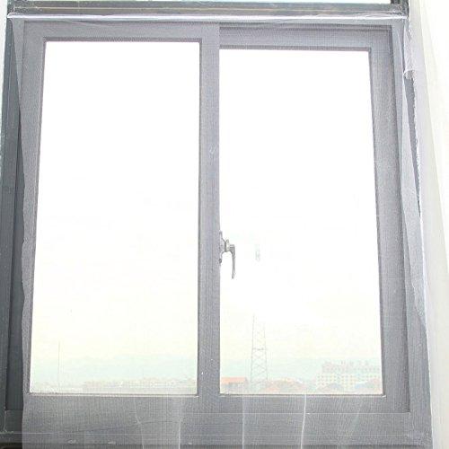 rugai-ue Klettverschluss selbst Kleben Mosquito Proof Invisible Screen einfach Sand Bildschirm Türvorhang Gaze Fenster Vorhang Weiß 1,5× 1,3m (Schiebetür-screen-ersatz)