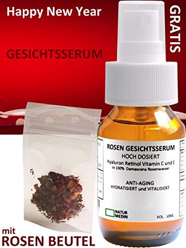 Gesichts-serum Hyaluron-säure Vitamin C E Retinol Serum bio vegan Qualität hochdosiert Anti-aging Falten Vit C Augen-Gel 100% naturreines Rosenwasser basiert Spray Glas-flasche nachhaltig 50 ml