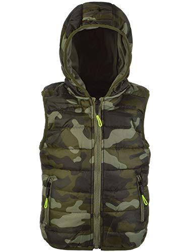 BEZLIT Kinder Jungen Weste Kapuze Camouflage Übergangs Winter ärmellos Jacke 22891 Grün 116