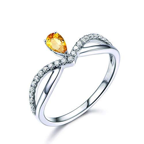SonMo Ring Solitär 925 Sterling Silber Verlobungsring Eheringe Heiratsantrag Ring Silber Krone Unendlichkeit Ring Solitär Gelb Topas Tropfenschliff Ringe Frauen Kreis Zirkonia 60 (19.1)