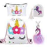 DRESHOW Cadeaux de licorne pour les filles cordon sac à dos/sac de maquillage/porte-monnaie/porte-clés Licorne Set enfants fête