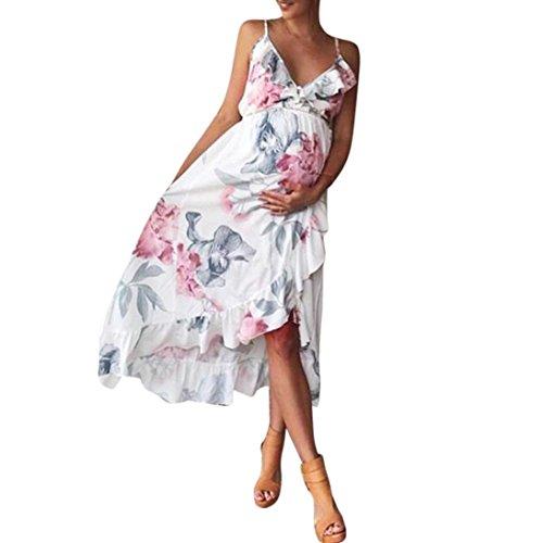 AMUSTER Schwangere Frauen Kleid Mode Damen Mutter Lässige Floral Schwangeres Kleid für Umstandsmode Schwangerschafts Kleid mit Rüsche Schleuderkleid (L, Weiß)
