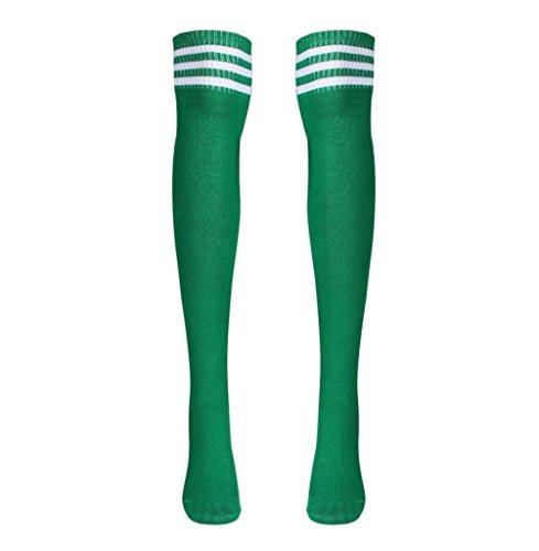 Calzino Familizo Uomo Calzini 1 paio coscia alta calze sopra il ginocchio di calcio femminile Calze (Verde)