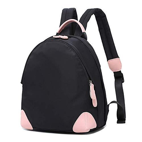 Lässige Retro Frau Mini schwarzer Rucksack Oxford Cloth 10 ′ ′ Laptop Taschen Schülertasche Bookbag Reise-Freizeit-Tagesrucksack,Black-10L
