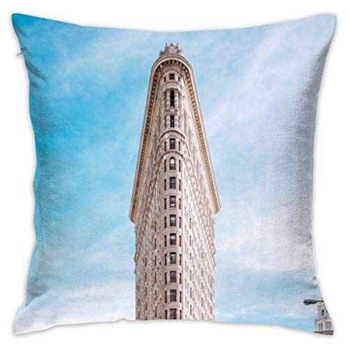 LULABE Flatiron Building New York Decorative Throw Pillow Modern Square Form Stuffer for Couch Sofa Or Bed Set Cozy Home Decor Size:20 X 20 Inches/50cm x 50cm New York Satin Bow