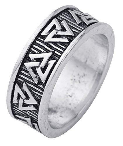 LemAmazon Gothic Wikinger Odin Symbol Valknut Nordic Ring für Herren Damen Größe 7,5