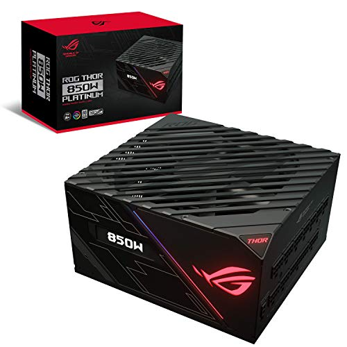 Asus ROG-THOR-850P Unità di Alimentazione Platinum da 852 W con Aura Sync e Display OLED, Nero