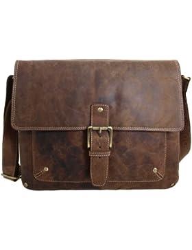 Vintage Messenger Bag /Umhängetasche aus geöltem Leder für 13