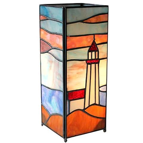 Tiffany Style Lighthouse Design Table Lamp 27.5cm