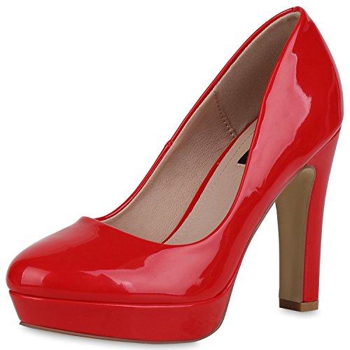 SCARPE VITA Damen Plateau Pumps Lack High Heels Stiletto Party Abendschuhe 162777 Rot Lack 40 Stiletto Heel Pump