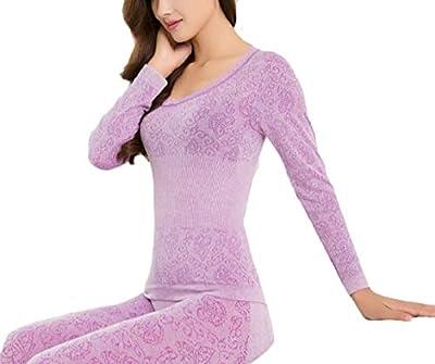 jiejiegao Women Long Johns Set Ultra Soft Stretchy Thermal Underwear Set