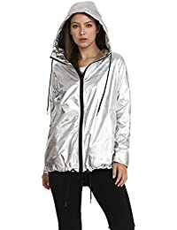 644de5e058da VILIER Ladies Waterproof RAIN MAC Parka Womens Hooded Gold Metallic Coat  Jacket Festival Raincoat Size 8