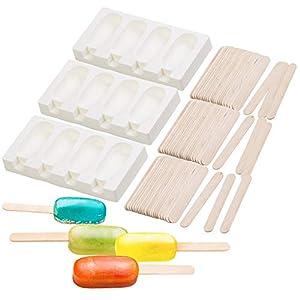 Rosenstein & Söhne Eisform: 3 Silikon-Formen für 12 Eis am Stiel, je 70 ml, mit 72 Holzstielen (Lollypop-Formen)