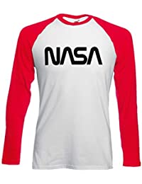 Nasa National Space Galaxy Novelty Black/White Femme Homme Men Women Unisex Manches Longues Long Sleeve Baseball T Shirt