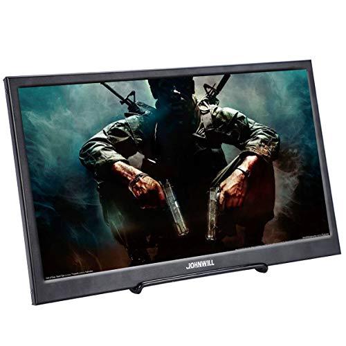 JOHNWILL 15,6 Zoll tragbarer IPS-Monitor Full-HD-Bildschirm 1920 x 1080 Monitor Tragbare ultradünne Schwarze Metallhülle HDMI/USB-Lautsprecher Eingebauter Raspberry Pi PS4