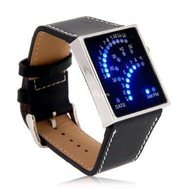 Price comparison product image Black LED Sports Watch Unisex Faux Leather Band Blue Backlit Fan Dial - BLUFAN