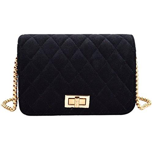 AiSi Damen Karo kleine Handtasche Clutch Umhängetasche Damenhandtasche Crossbody Bag mit Umhängekette Blau Pink Schwarz Schwarz