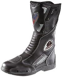 Protectwear SB-03203-43 Motorradstiefel, Allroundstiefel, Sportstiefel aus Leder, Größe 43, Schwarz