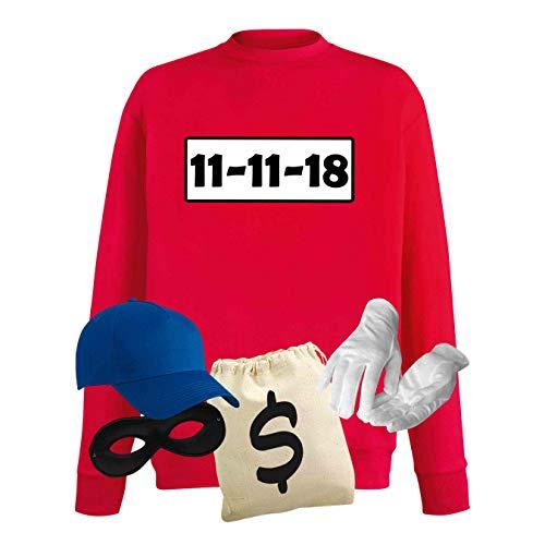 Sweatshirt Panzerknacker Kostüm-Set Wunschnummer Cap Maske Karneval Herren XS - 5XL Fasching JGA Party Sitzung, Größe:4XL, Logo & Set:11.11./Set Deluxe+ (11.11.XX/Shirt+Cap+Maske+Hands.+Beutel)