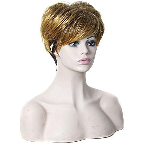Meydlee Pelucas Moda destacados pelucas damas sintético red transpirable lino marrón