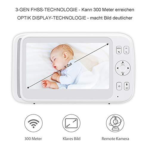 Bable Babyphone mit Kamera G1, 5 Zoll Großer Bildschirm Babyfon mit Fernbedienung Kamera, 300 Meter Signalreichweite, automatische Verfolgung, Ton und Temperaturalarm, Nachtsicht, Wiegenlied und Zweiwege Audio - 2