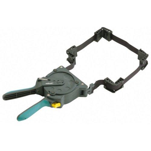 wolfcraft Einhand-Rahmenspanner 3681000 - Bandspanner zur schnellen Fixierung von Brettern & Rahmen - Ratschen Eckspanner mit 5m Spannband