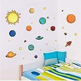 zwyluck Autocollant muralSystème solaire planètes lune mur enfants cadeau beddecorative stickers bricolage dessin animé mural art pvc pépinière garçons affiches 170 * 50 cm...