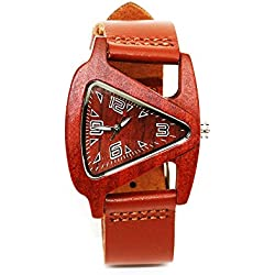 ECVILLA Mens Sandalwood Wooden Watches Genuine Leather Strap Watch Japanese Quartz Movement Gift