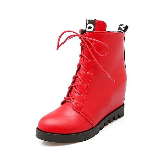 VogueZone009 Damen Hoher Absatz Niedrig-Spitze Gemischte Farbe Reißverschluss Stiefel, Rot, 41