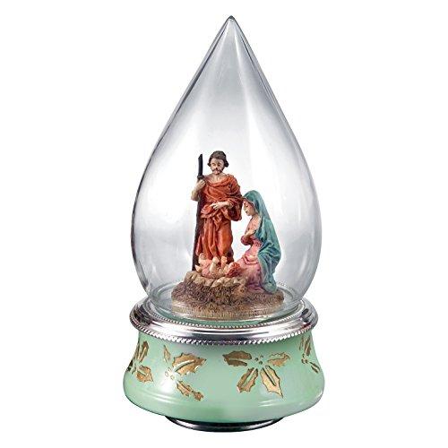 Sainte famille en cloche de verre avec carillon avec Silver Plated