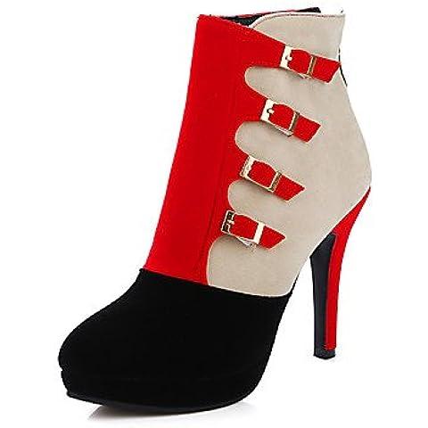 Donna stivali Autunno / Inverno stivali moda casual Stiletto Heel fibbia nero / blu / rosso altri,blu,noi6.5-7 / EU37 / UK4,5-5 / CN37