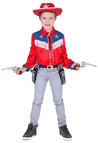 Funny Fashion Kostüm Cowboy Hemd Sean Kind Größe 140 Western Wilder Westen ()