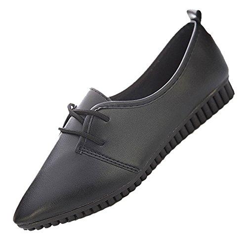 TOOGOO(R) Neue Fashion Vintage Frauen flache Schuhe Schwarz US6 = EUR37 = Laenge 23.5CM (Beliebte Fashion Neue)