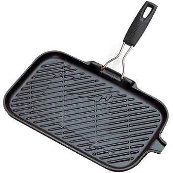 Steak-Pfanne, quadratisch, aus Gusseisen. Grill- und Brat