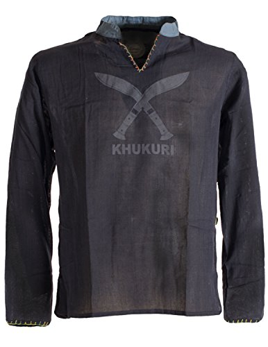 ekleidung - Bequemes Fischerhemd Aus Baumwolle in Leinenoptik mit Khukuri Gurkha Aufdruck Schwarz 2XL (Thai Fisherman Shirt)