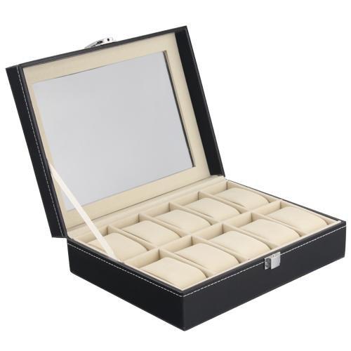 1X Metall Kunstleder Uhrenbox Uhrenetui Uhren Box Etui Schmucketui für 10 Uhren