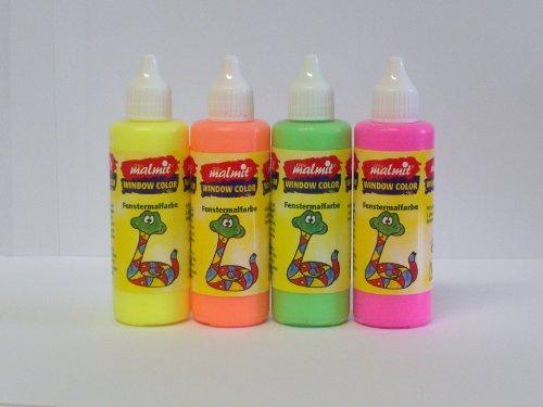 4er NEON - Set Window Color: je 1 Flasche neon-pink - neon-gelb - neon-grün - neon-orange, 80 ml - Qualität aus deutscher Produktion
