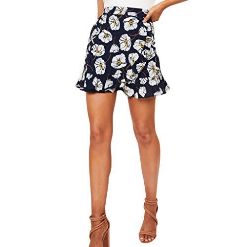DEELIN Minirock,Mode Damen Sexy Rüschen Blumendruck Meer Strand Daliy Beiläufiger Minirock kurz Schulmädchen Kurze Röcke Alternative ()