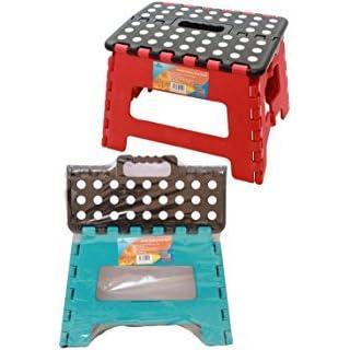 Ashley Housewares Branded 320 x 250mm Small Folding Step Stool, Colour Random